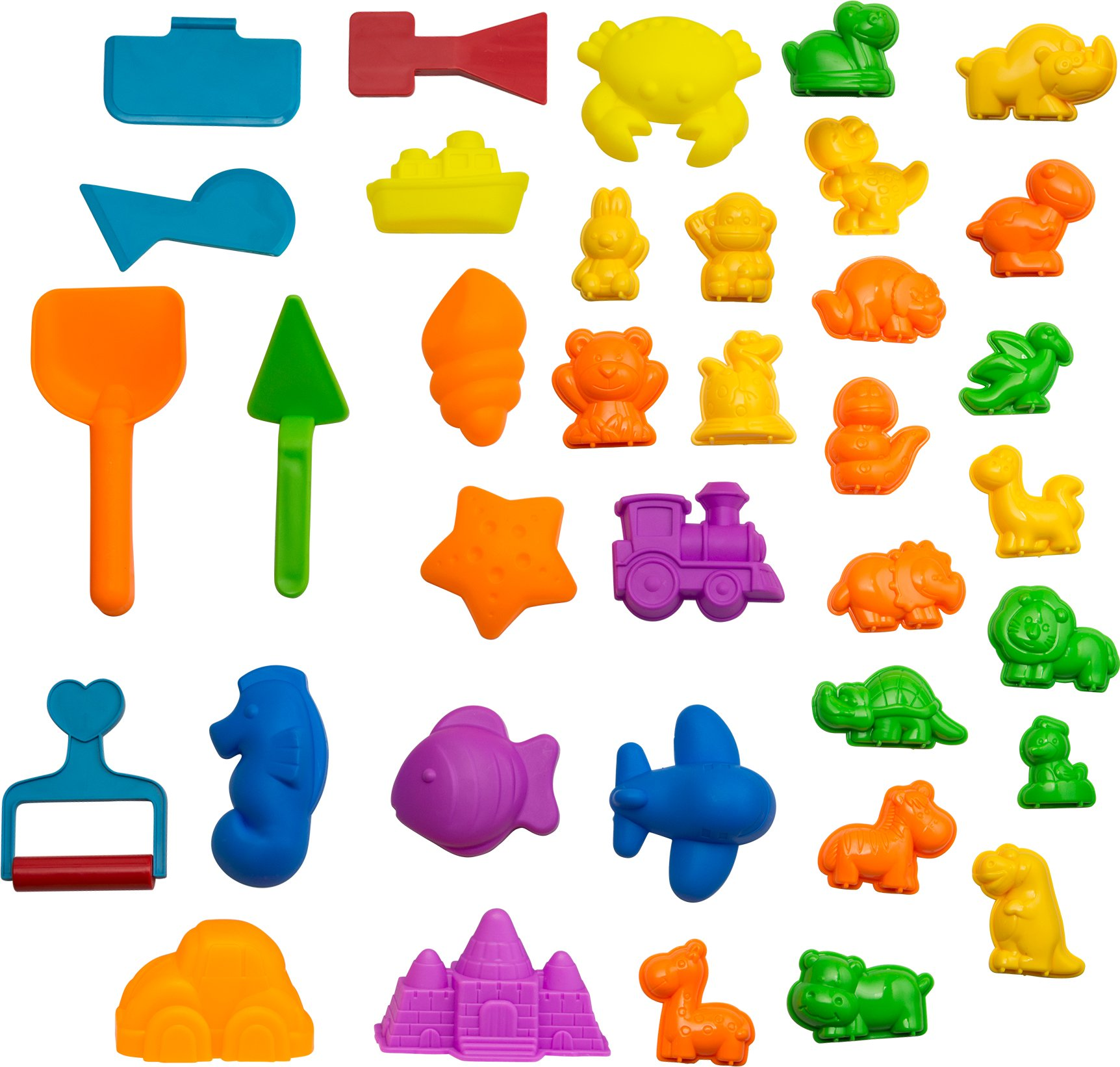 CoolSand Animal Sand Molds and Tools Kit (36 Pcs) - Works with All Other Play Sand Brands - Includes: 10 Dinosaurs, 10 Animals and 12 Beach Molds, and 4 Tools - Sand Not Included by CoolSand