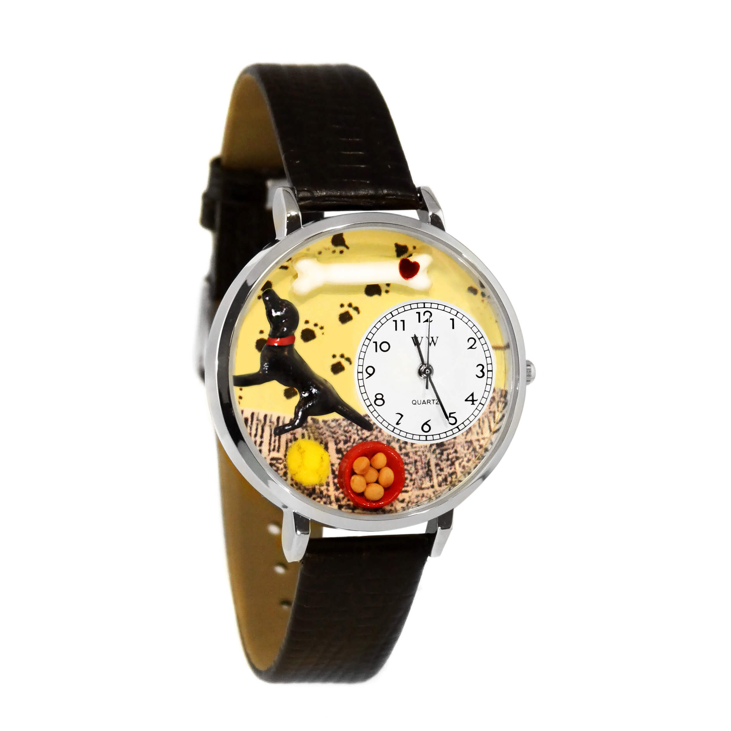 Whimsical Watches Unisex U0130011 Labrador Retriever Black Skin Leather Watch