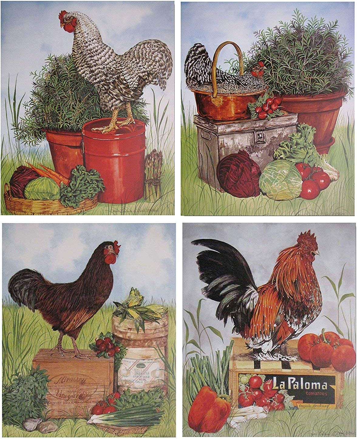 Amazon Com Rooster Chicken Farm Animal Four 8x10 Set Picture Kitchen Wall Decor Art Print Posters Posters Prints