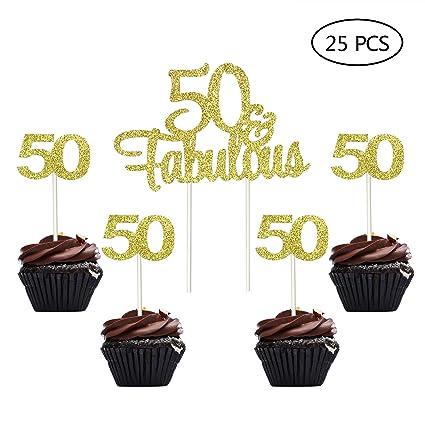 Oro Gltter número 50 50 cumpleaños 50 aniversario Cupcake ...