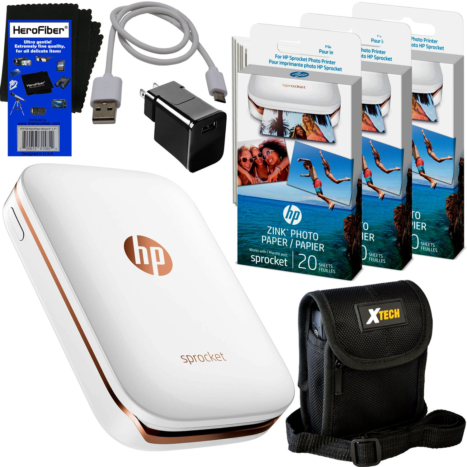 HP Sprocket Photo Printer, Print Social Media Photos on 2x3 Sticky-Backed Paper (White) + Photo Paper (70 sheets) + Protective Case + USB Cable with Wall Adapter + HeroFiber Gentle Cleaning Cloth