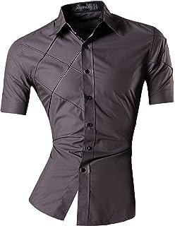 128abb2b505 SUSIELADY Men s Military Dress Shirt Short Sleeve Slim Fit Button ...