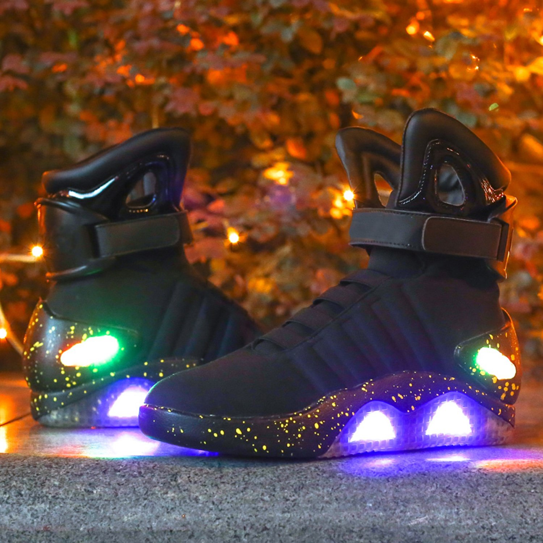 Green Hope-Rise Field Men Fabric LED Flashing High-Top Shoes Light Up Sneakers DQBF95-Black-44