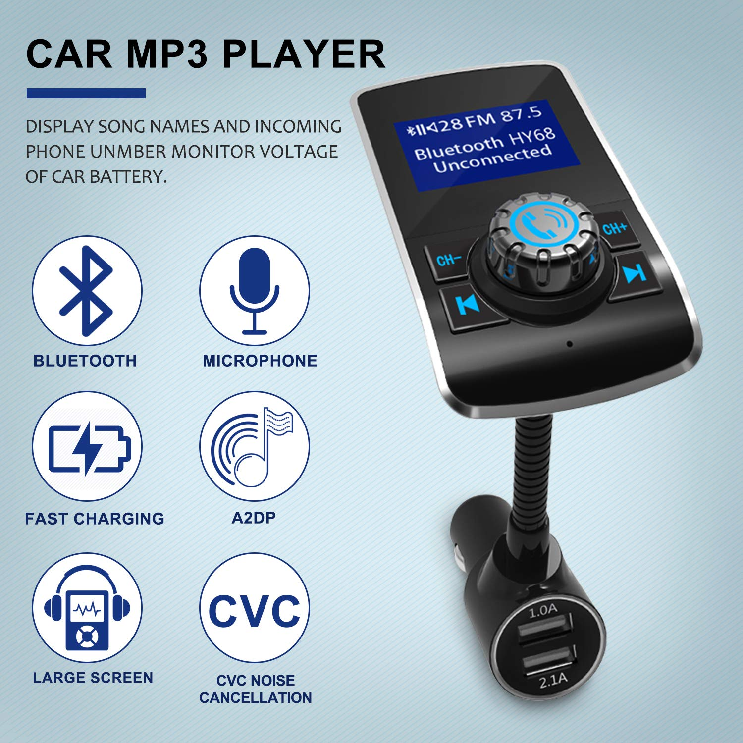 sgin fm transmitter bluetooth car mp3 player radio amazon co uk rh amazon co uk how to play music from your phone in a car without aux