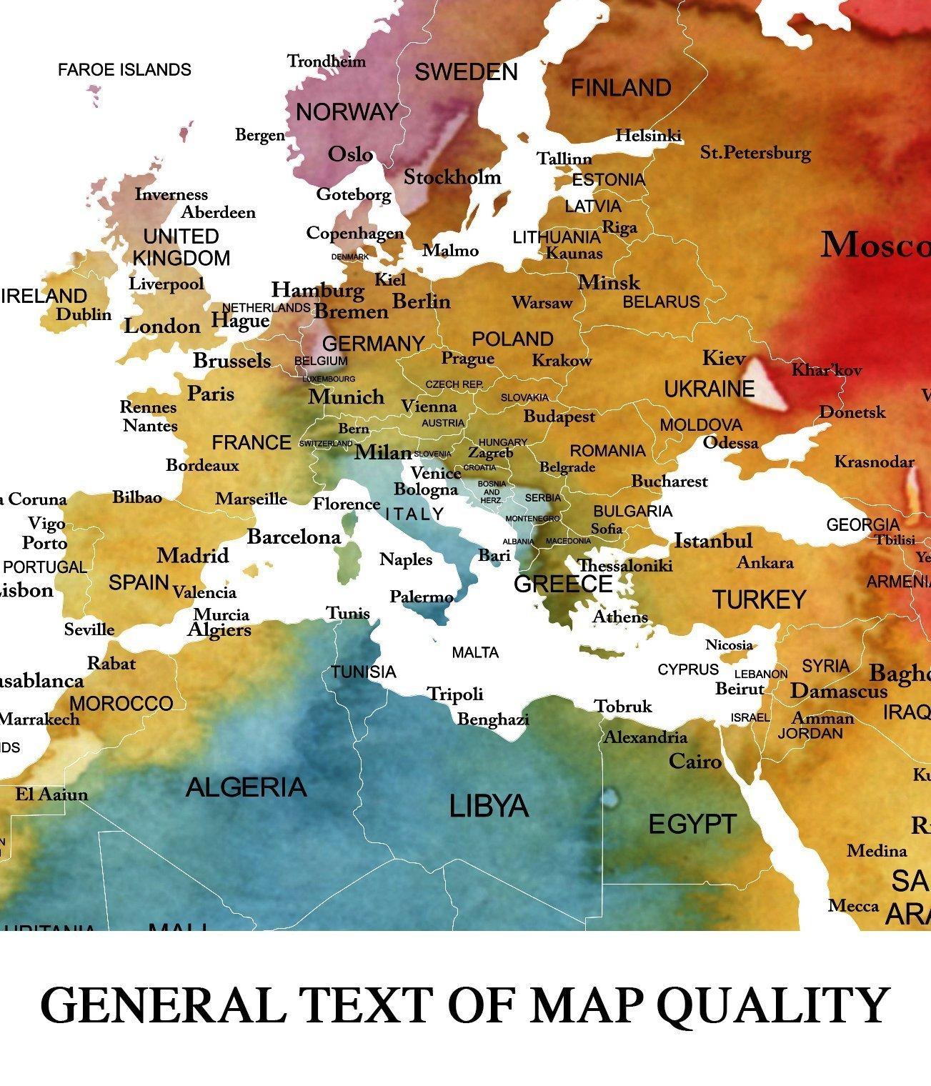 Sephia World Map Wall Art, Old World Map Canvas, World Map Print, World Map Poster, World Map Art, World Map Push Pin