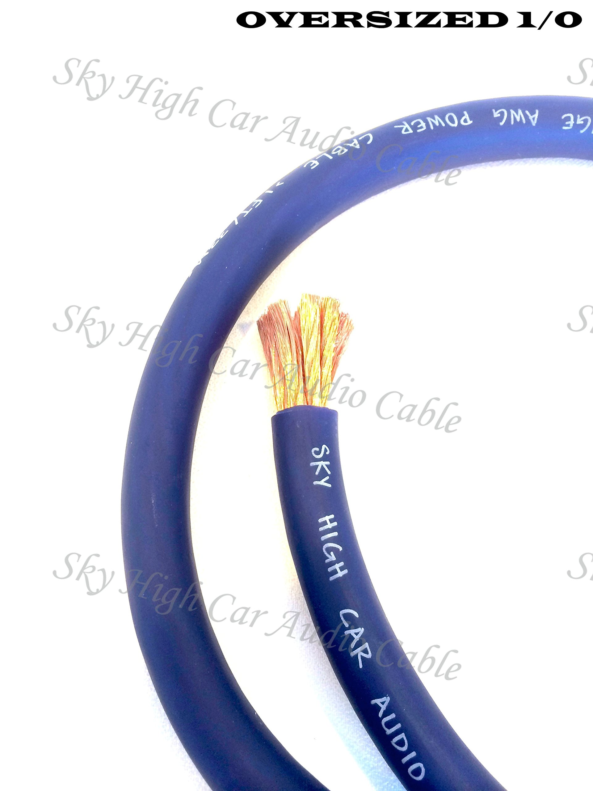 5 ft CCA 1/0 Gauge Oversized BLUE Power Ground Wire Sky High Car Audio