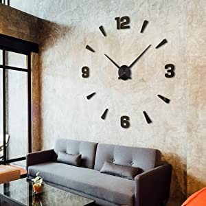 Niceguy Solutions DIY Wall Clock - Frameless 3D-Style Analog Timekeeper for Home, Living Room, Bedroom, Office - Battery-Powered Modern House Decoration - Silent Clock Decor with Number Sticker Decals