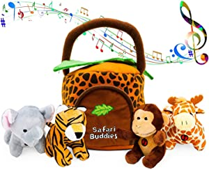 Gift for 1 Year Old Educational Plush Toy Talking Animal Set (5 Pcs - Plays Real Sounds) with Carrier for Kids | Stuffed Monkey, Giraffe, Tiger & Elephant | Safari Animals | Great Baby Shower Gift