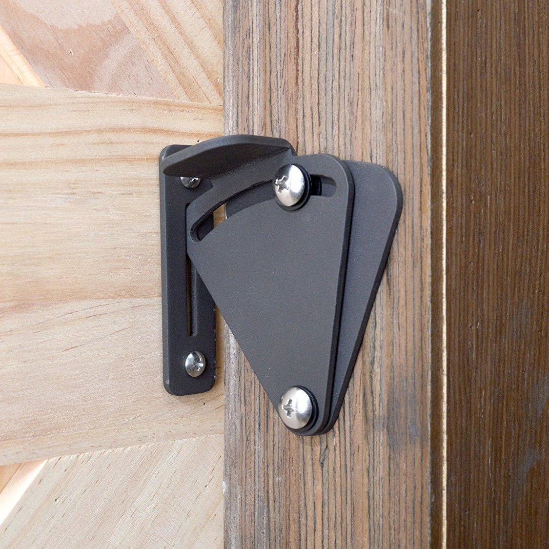 Rustic Style Wood Door Latch Privacy Lock - Black Powder Coated