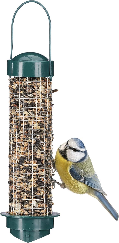 Relaxdays, Verde, Comedero Pájaros para Colgar en la Terraza, Balcón o Jardín, Polipropileno y Hierro, 35 x 9 cm