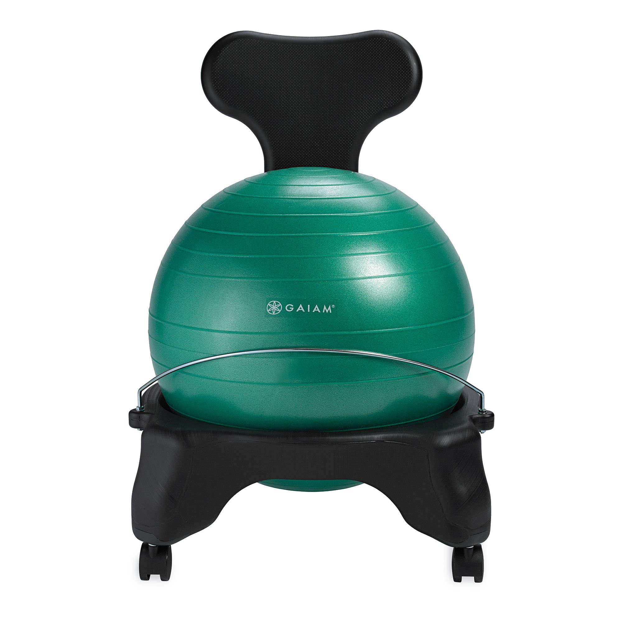 Gaiam Classic Balance Ball Chair – Exercise Stability Yoga Ball Premium Ergonomic Chair for Home and Office Desk with Air Pump, Exercise Guide and Satisfaction Guarantee, Green by Gaiam (Image #8)