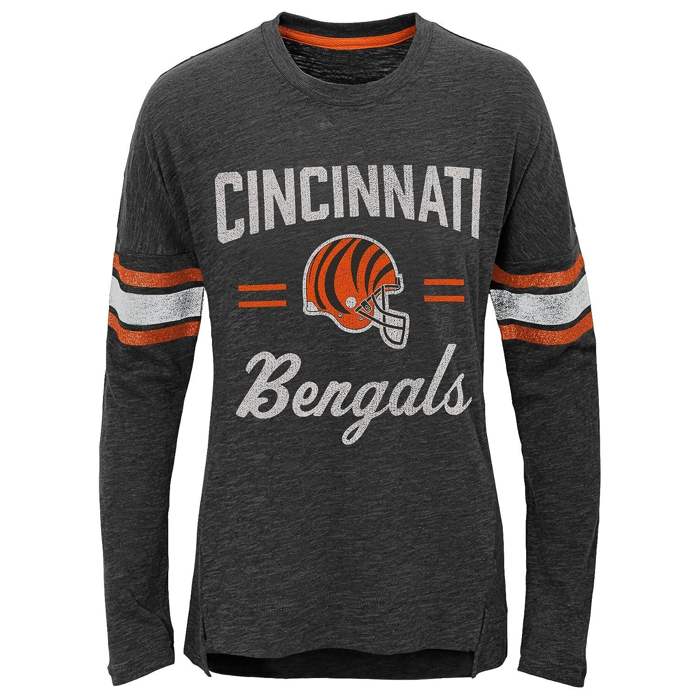 Youth Small Outerstuff NFL Cincinnati Bengals Youth Boys Team Captain Long Sleeve Slub Tee Black 7-8