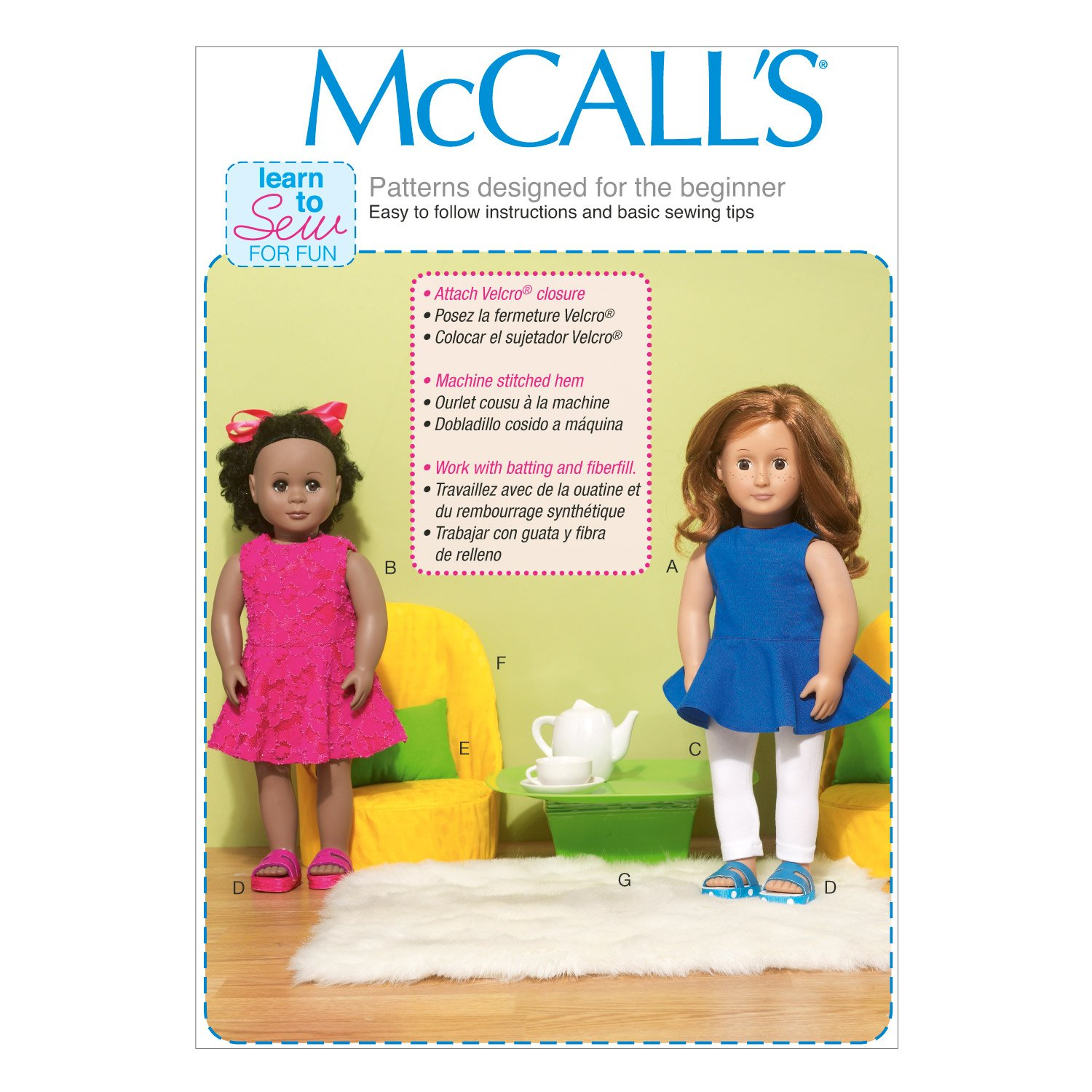 Amazon.com: McCall Pattern Company M7105 Clothes for 18-Inch Dolls, Chairs, Pillow and Table, One Size Only: Arts, Crafts & Sewing