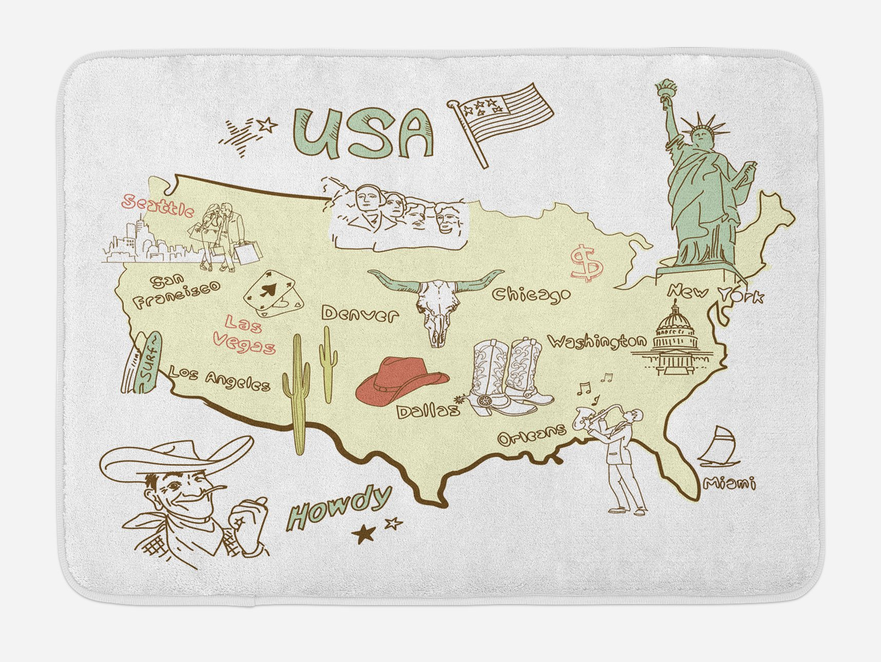 Lunarable Country Bath Mat, Stylized Doodle Map of United States of America USA Regions National Folk Elements, Plush Bathroom Decor Mat with Non Slip Backing, 29.5 W X 17.5 W Inches, Multicolor