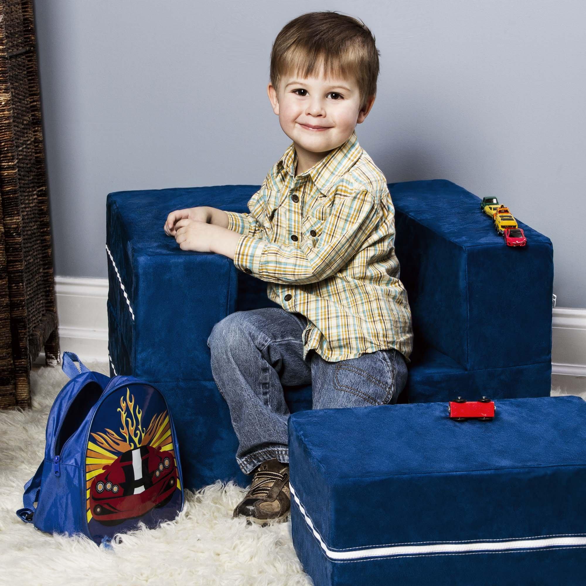 Jaxx Zipline Modular Kids Chair & Ottoman / Fold-Out Lounger, Blueberry