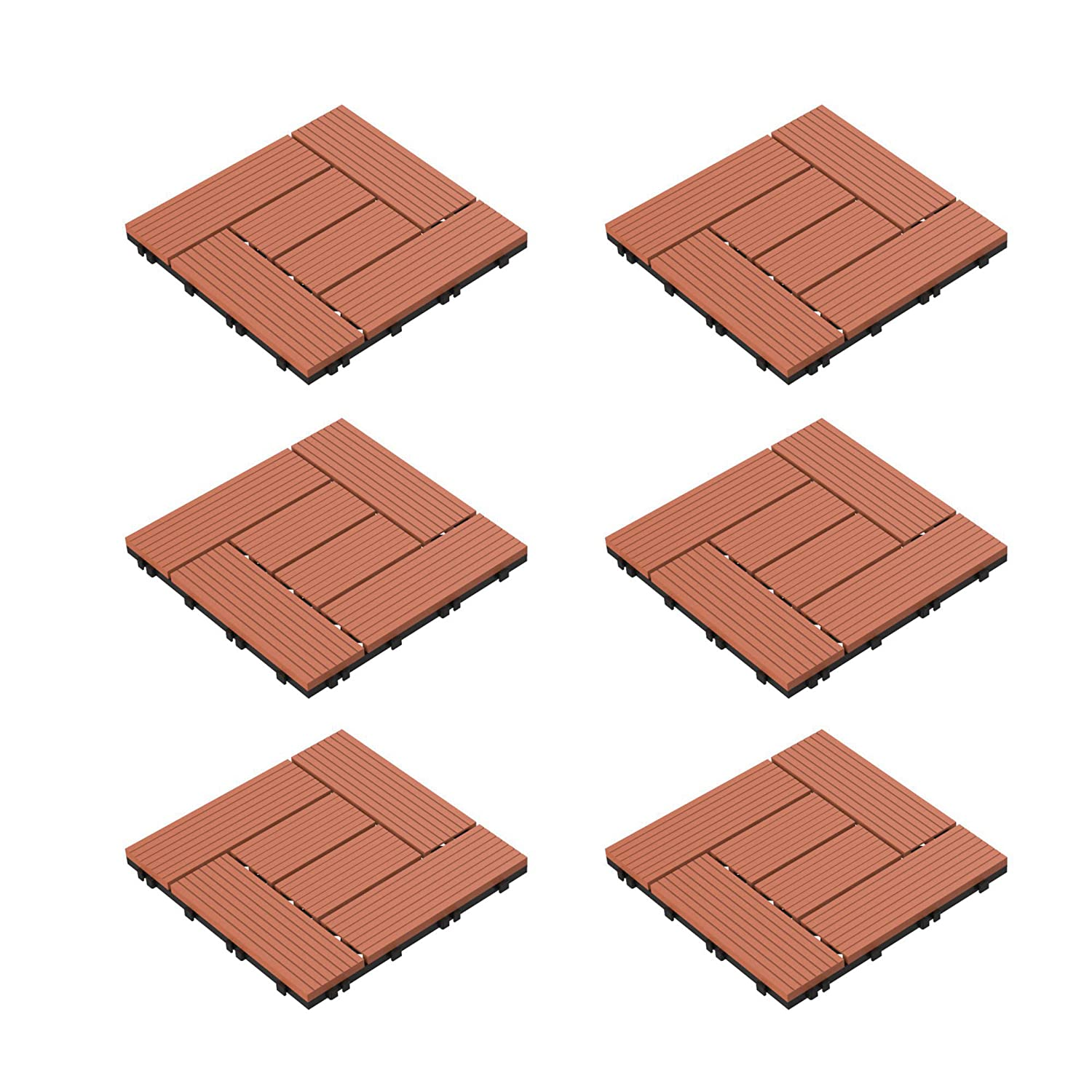 Pure Garden 50-LG1190 Patio and Deck Tiles – Interlocking Criss-Cross Pattern Outdoor Flooring Weather and Slip Resistant Square (Terra Cotta Color 6 Pcs),