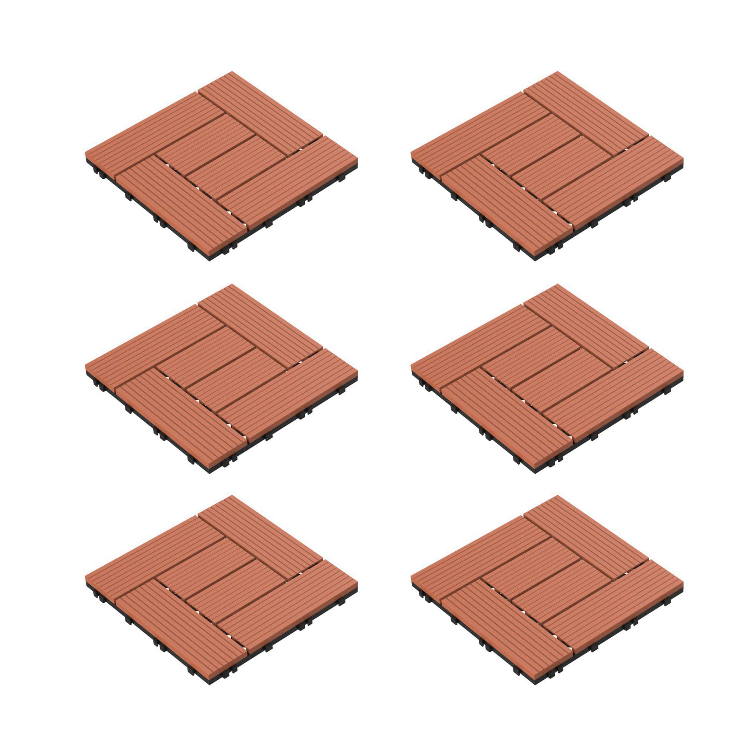 Pure Garden 50-LG1190 Patio and Deck Tiles - Interlocking Criss-Cross Pattern Outdoor Flooring Weather and Slip Resistant Square (Terra Cotta Color 6 Pcs), by Pure Garden