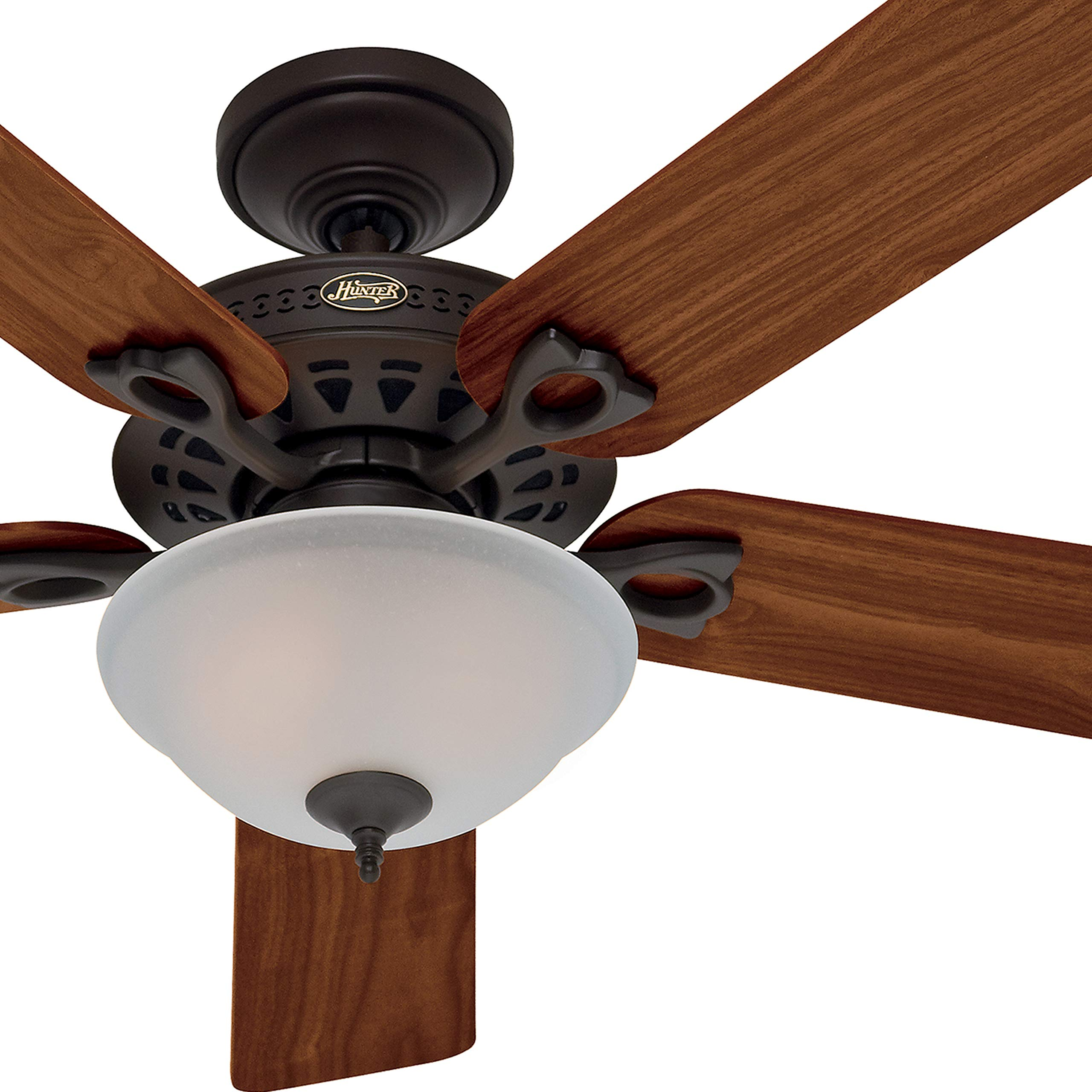 Hunter Fan 52'' Traditional Ceiling Fan in New Bronze with a Frosted Glass Light Kit, 5 Blade (Certified Refurbished) by Hunter Fan Company