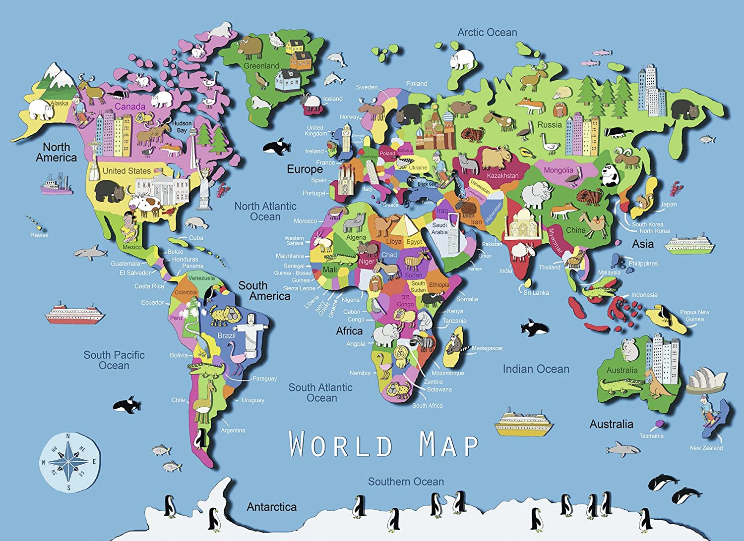 Ravensburger World Map Puzzle Piece Floor Puzzles Amazon - Canada map puzzles