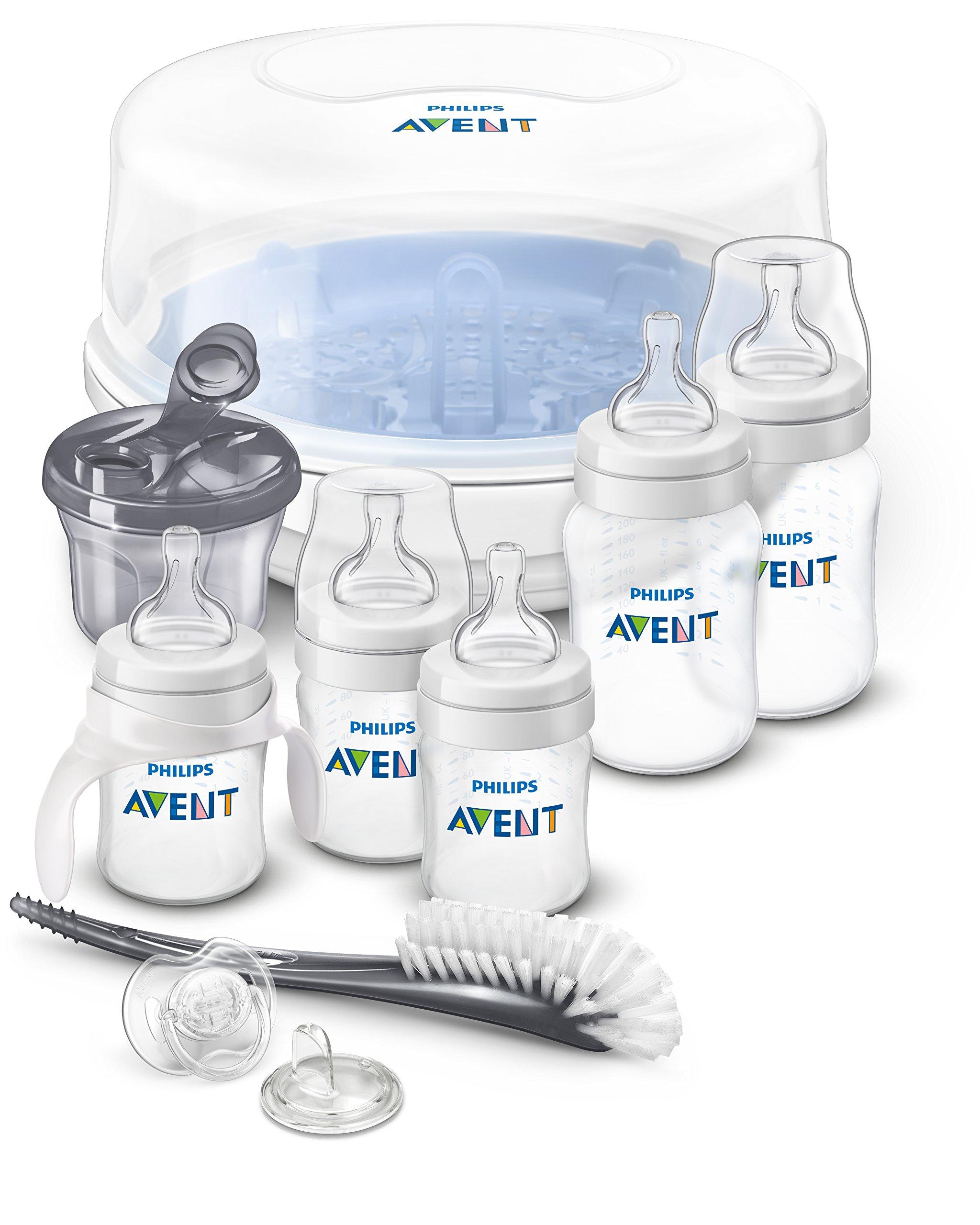Philips AVENT Anti-Colic Bottle Essentials Newborn Starter Set, Clear