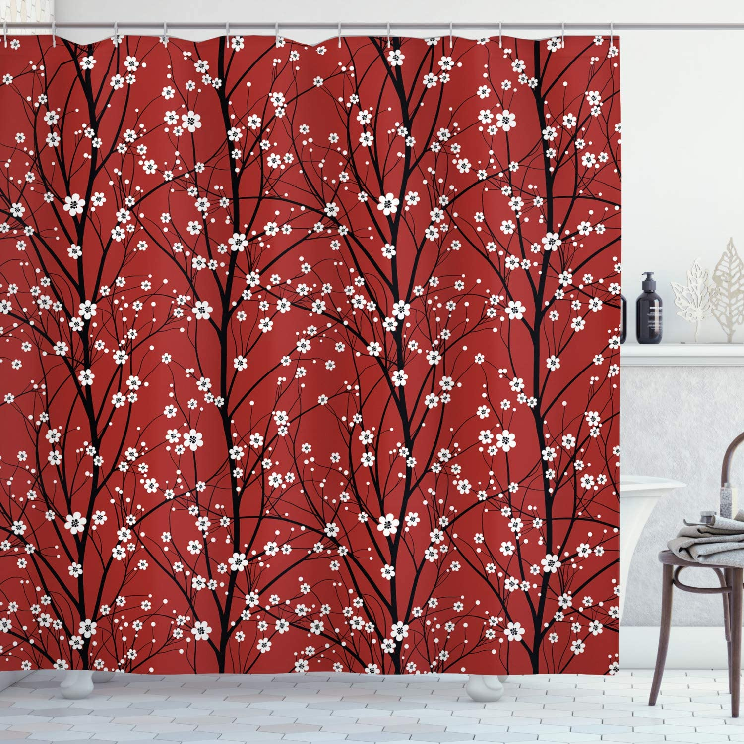 Lunarable Floral Shower Curtain, Cherry Blossom Tree Branches Beauty Japanese Traditional Folk Eastern Petals, Cloth Fabric Bathroom Decor Set with Hooks, 70