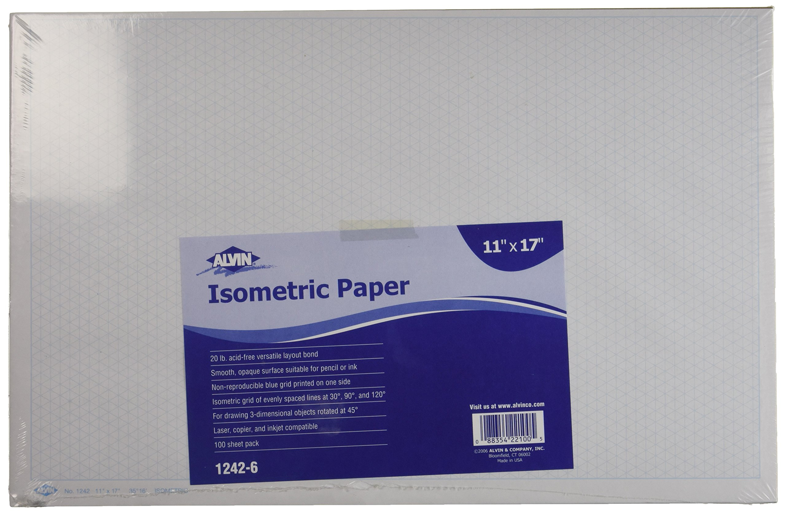 Alvin, Isometric Graph Paper, 100-Sheet Pack 11 inches x 17 inches by Alvin