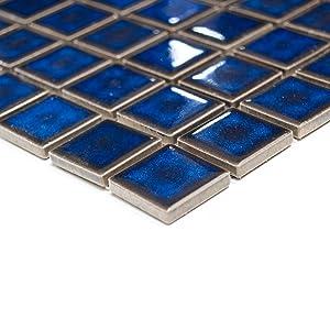 azulejos mosaico de cerámica cuadrados para el baño de azul cobalto cenefa # 215