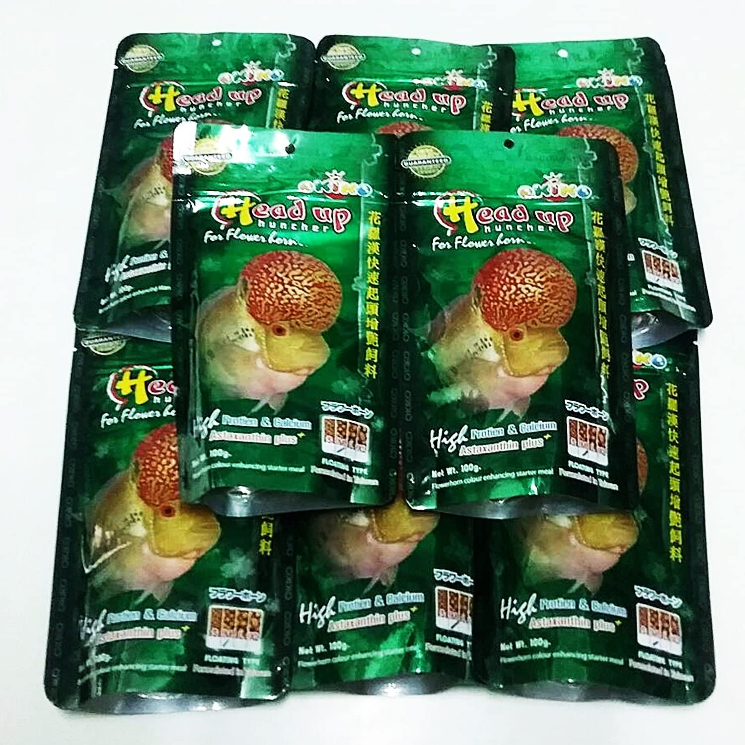 OKIKO New 6 Pieces of 3.5 oz(100g) Head Up Hunch High Protein & Calcium Floating Pellets with Astaxanthin Plus Flowerhorn Cichlid Fish Food