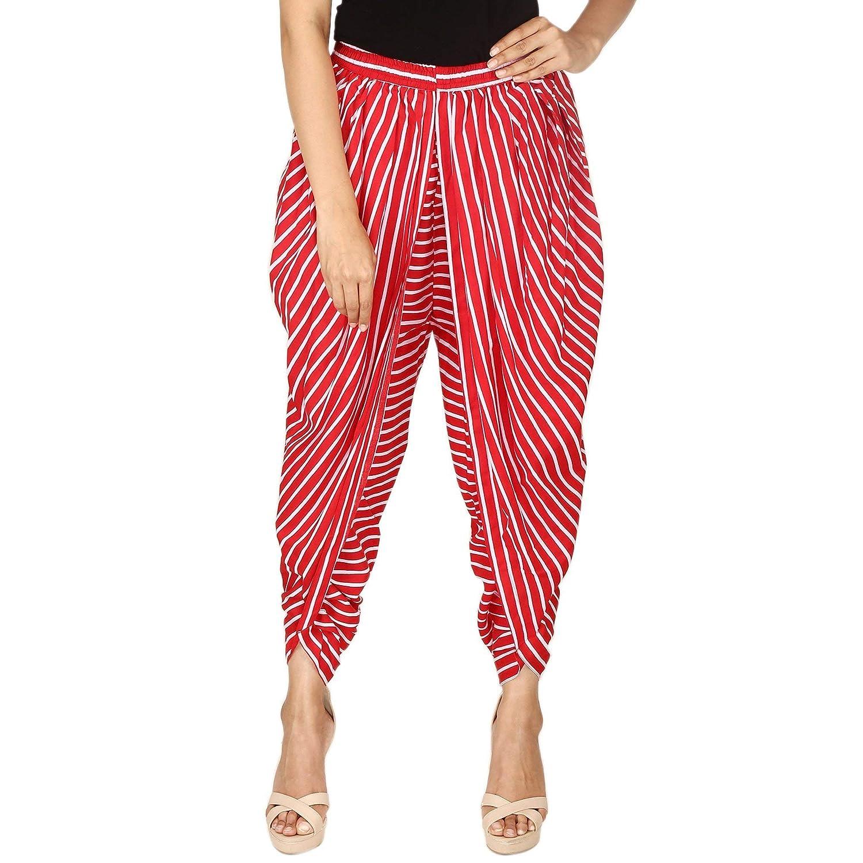 Red and White Striped Rayon Dhoti Pant, Patiala Dhoti Salwar, Dhoti Trousers for Women, Girls