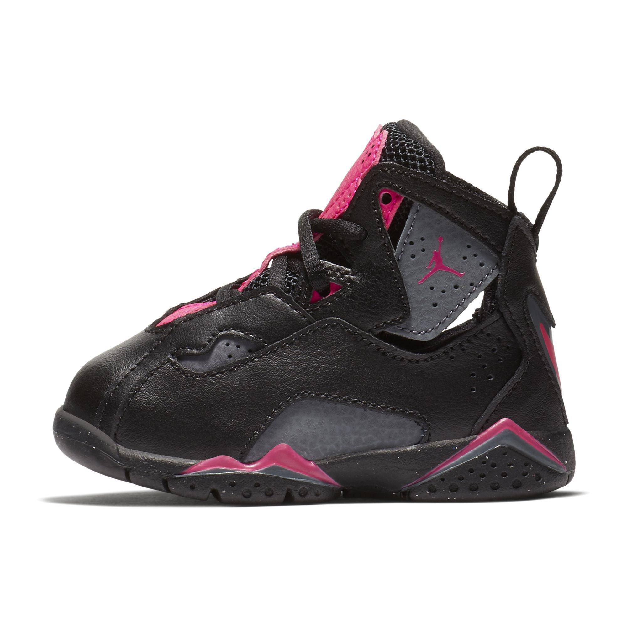 Jordan Nike Toddlers True Flight GT Black/Dark/Grey/Deadly/Pink Basketball Shoe 5 Infants US