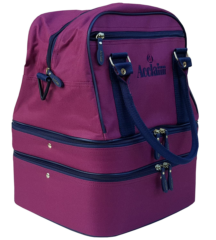 Acclaim Blyth Burgundy/Navy Nylon Four Bowl Level Lawn Flat Green Short Mat Mini Triple Decker Bowls Bag