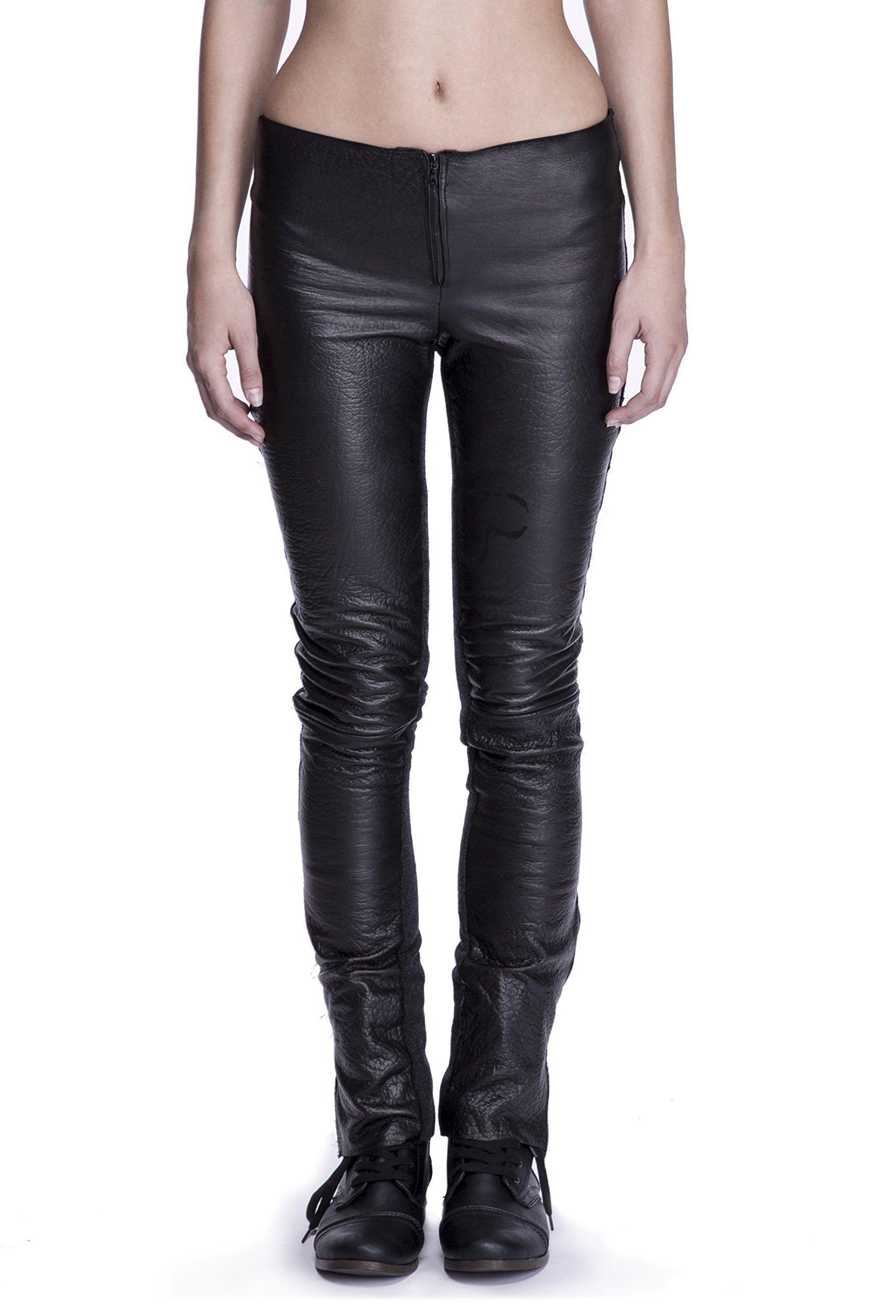 Women's Cut Leather & Wool Skinny Jeans