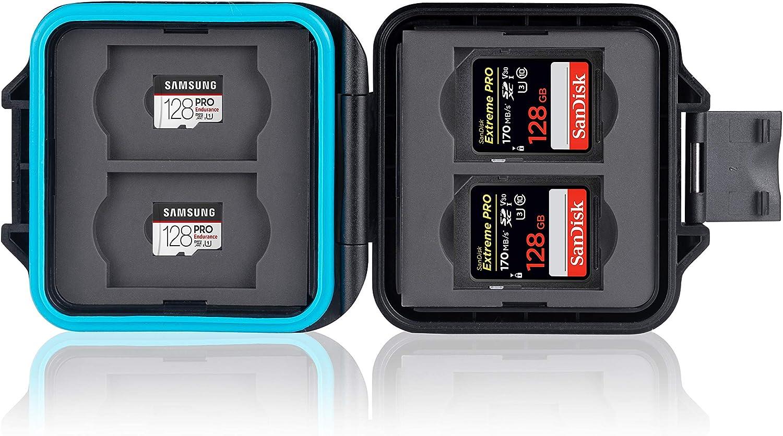 Ares Foto® Estuche Impermeable para tarjetas de memorias • Funda protectora para tarjeta de memoria: 4 x SD & 4 x Micro SD • Almacenamiento y transporte • Incluye cable de transporte y aguja sim