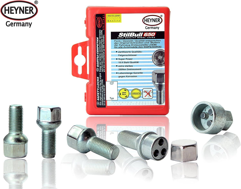 V60 Heyner Germany Locking Wheel Nuts Set 4 Removal Key Car Security Locks Anti-theft