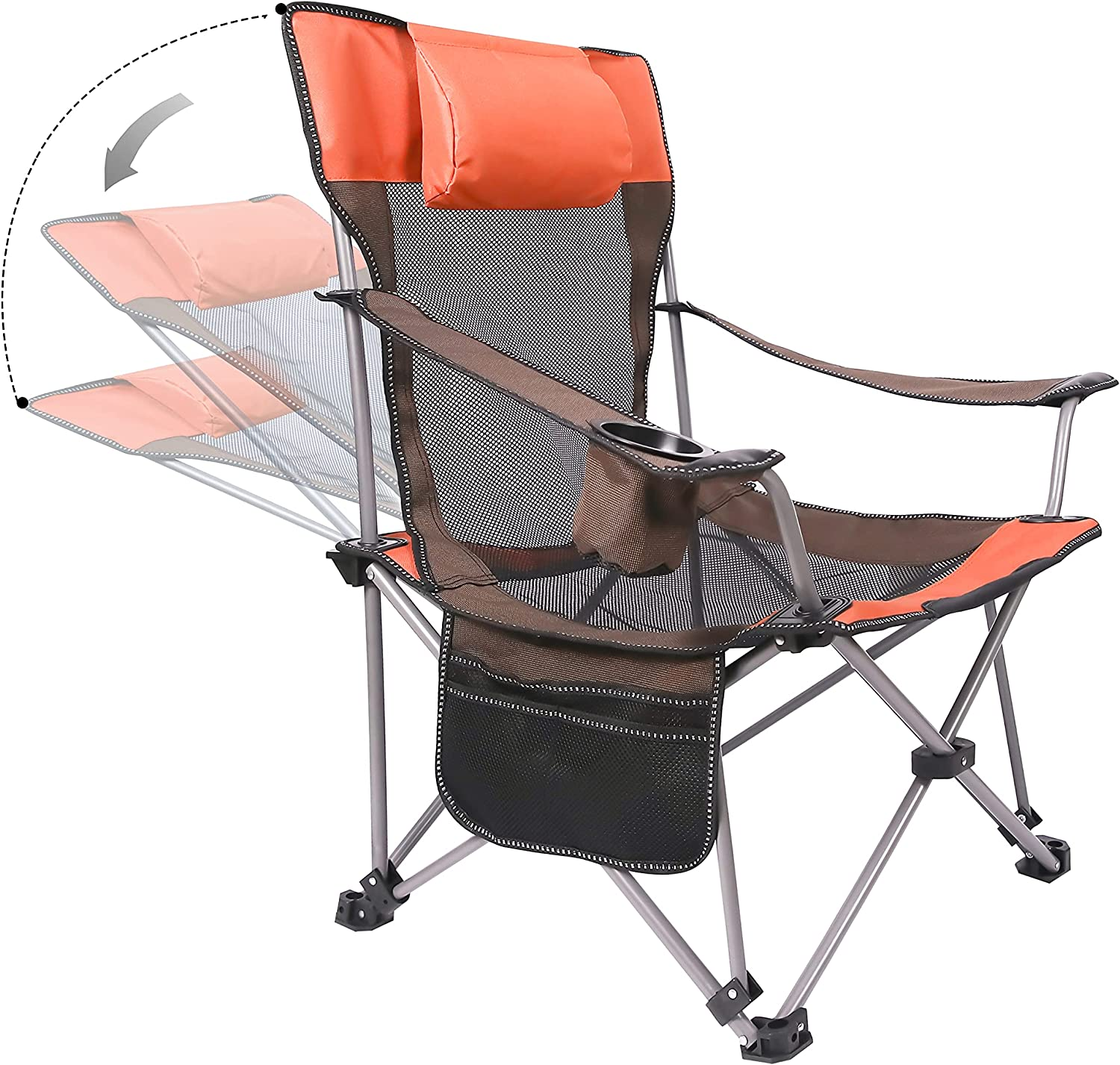 Phiroop Folding Camping Chair Adjustable Lounge Recliner Portable Oversized Steel Frame Collapsible Lawn Outdoor Chair with Cup Holder & Pillow (Desert Orange)