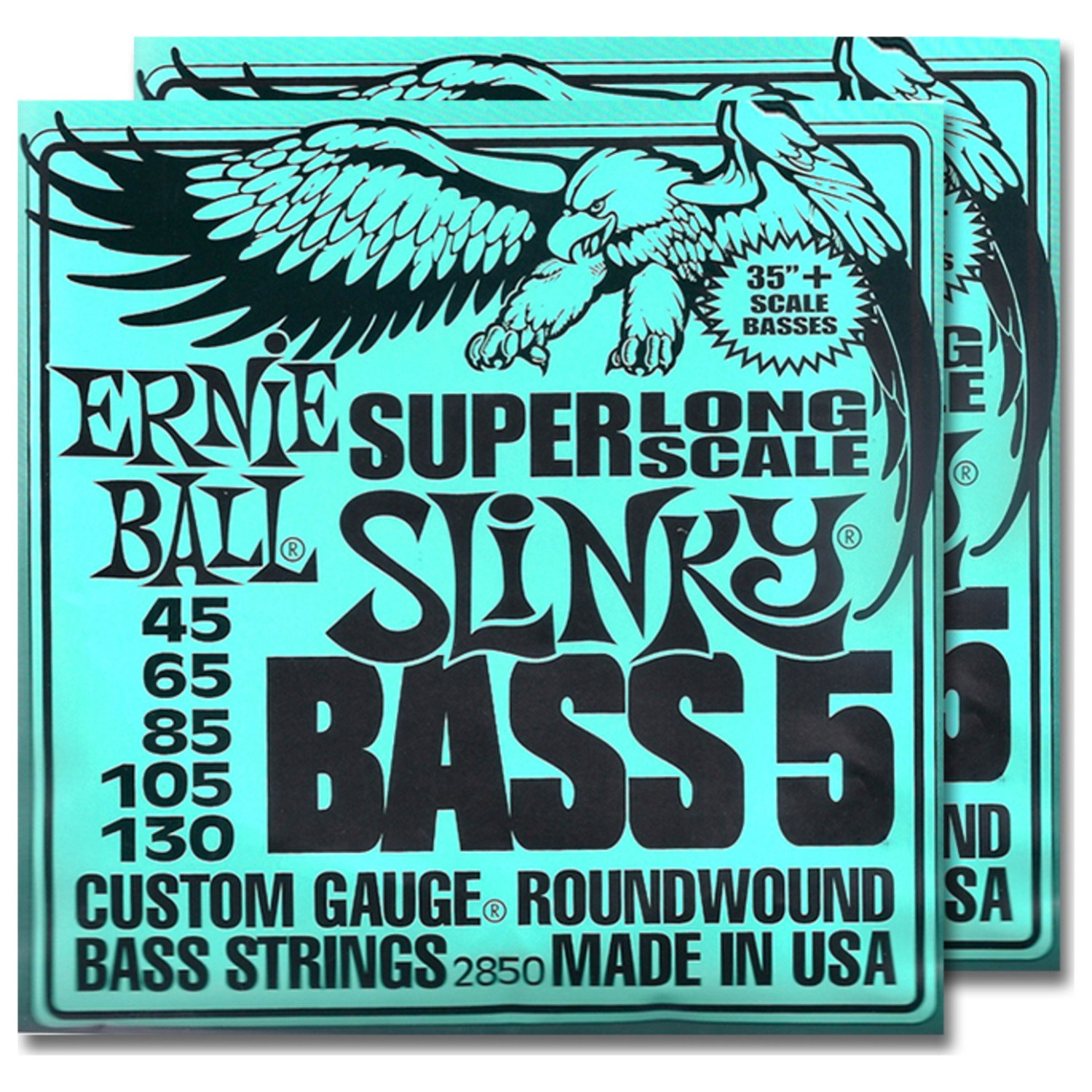 2 Sets of Ernie Ball 2850 5 String Slinky Super Long Scale Bass Strings