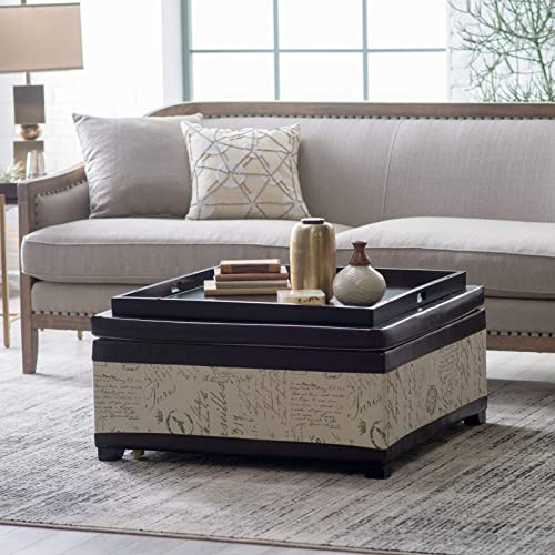 Contemporary Brown Beige Linen Leather Script Square Cocktail Ottoman with Storage Tray Top Coffee Table Living Room Furniture