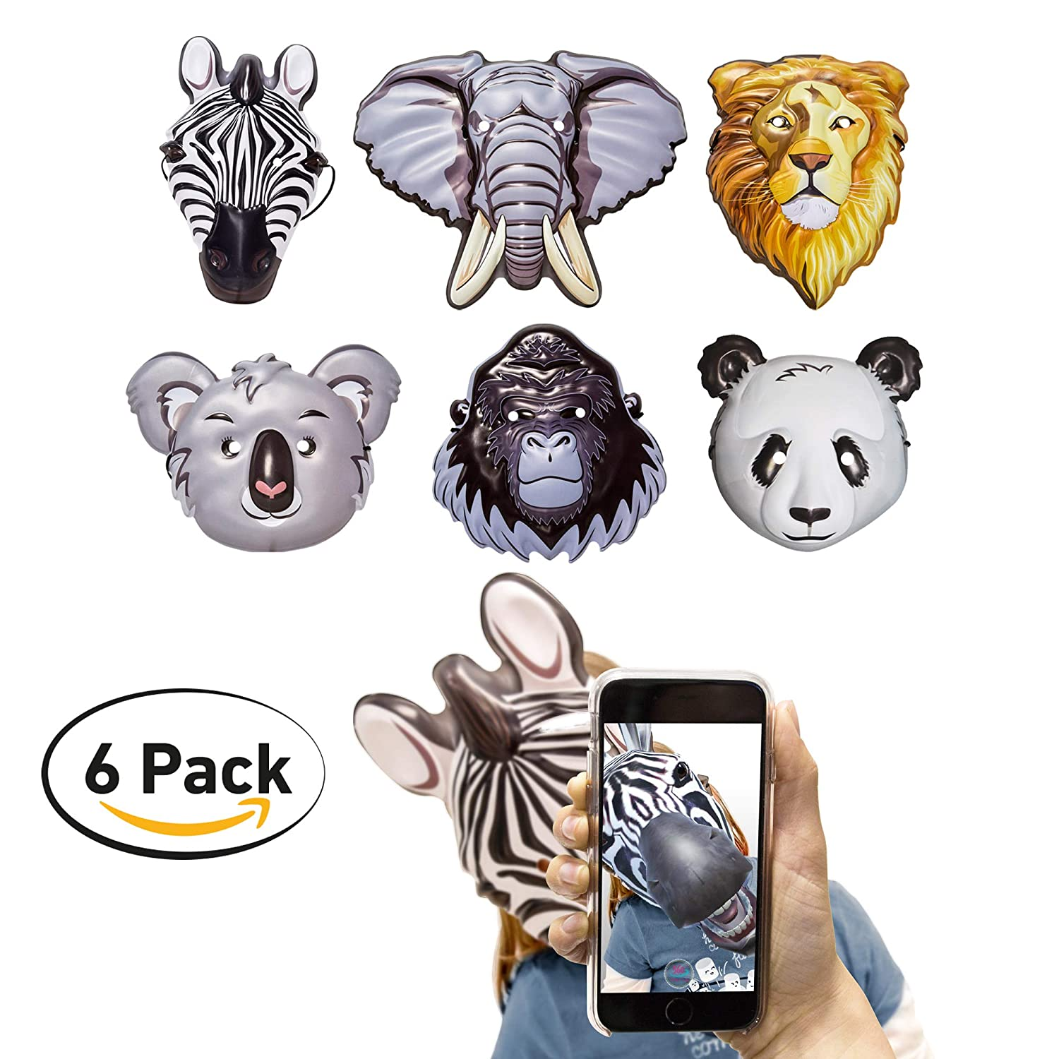360 Party Lab Kids Animal Masks Augmented Reality 6 Pack Zebra Elephant Gorilla Koala Lion Panda Bear