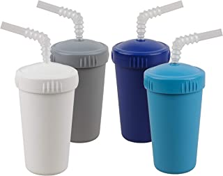 product image for Re-Play Made in USA 4pk- 10 oz. Straw Cups with Bendable Straw in White, Grey, Navy, Sky Blue| Made from Eco Friendly Heavyweight Recycled Milk Jugs - Virtually Indestructible (Modern Blue+)