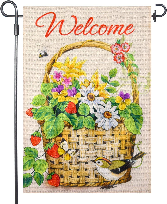 LAYOER burlap home garden flag welcome 12.5x18 inch double sided spring summer flower basket butterfly flower bird outdoor decor banner