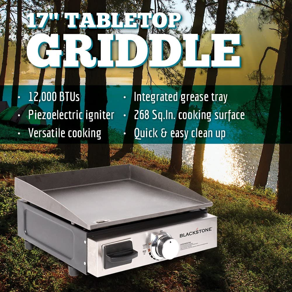 Blackstone Table Top Grill - 17 Inch Portable Gas Griddle - Propane Fueled - For Outdoor Cooking While Camping, Tailgating or Picnicking : Garden & Outdoor