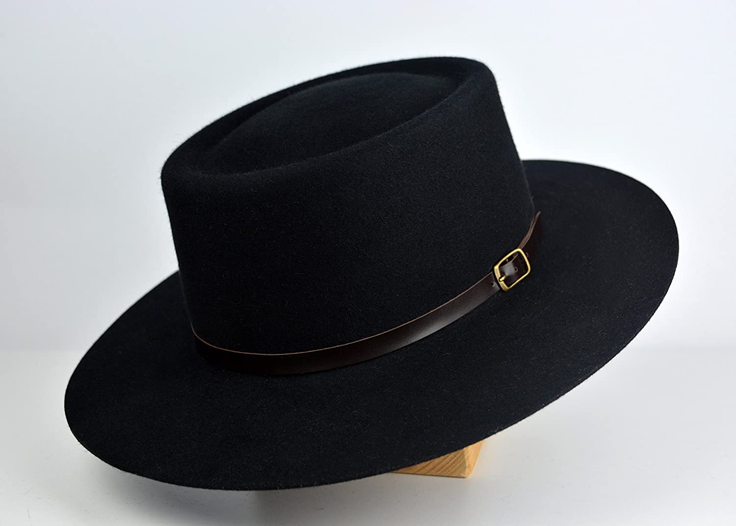 The Voodoo - Black Rabbit Fur Felt Vaquero Crown Bolero   Riding Hat - Extra -wide Brim - Men Women 55092a4e79b1