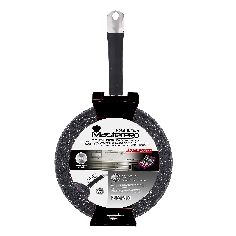 Masterpro Home Edition Black Sartén, Aluminio Forjado, Gris, 26 cm