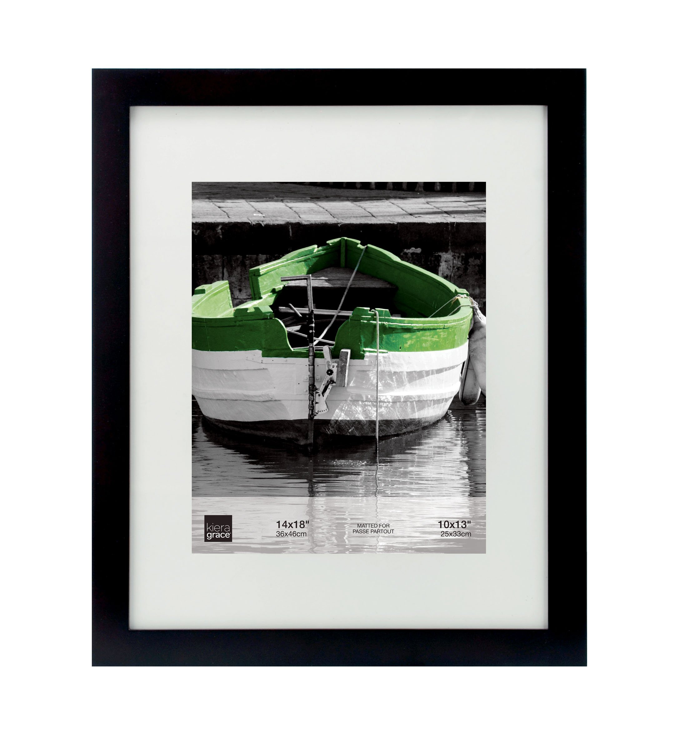 kieragrace Langford Wood Picture Frame, 14 by 18 Inch Matted for 10 by 13 Inch Photo, Black