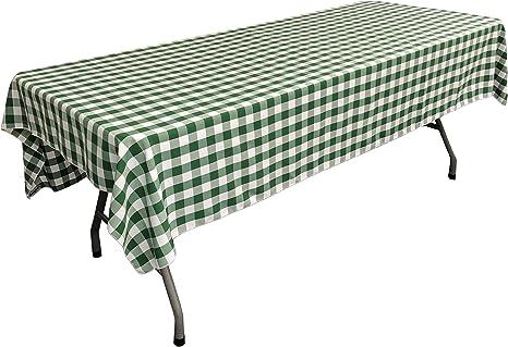 Amazon Com La Linen Polyester Gingham Checkered Rectangular Tablecloth White Hunter Green 60 X 84 Home Kitchen