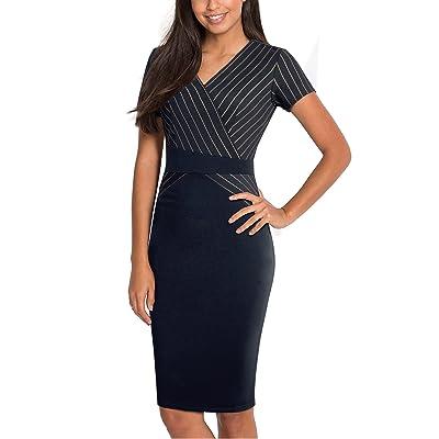 HOMEYEE Damen Elegant V-Ausschnitt Kurzarm knielangen gestreiften Business-Kleid B436