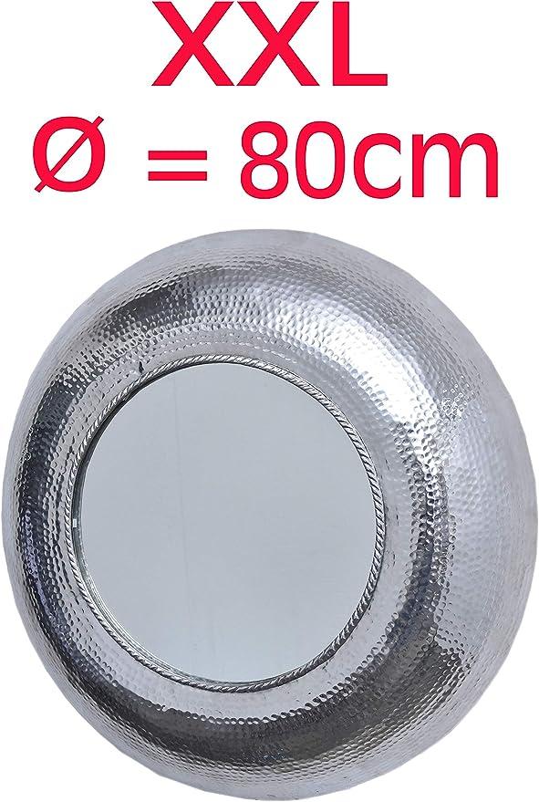 Maades Spiegel Wandspiegel Valentine Xxl Rund Silber ø 80cm