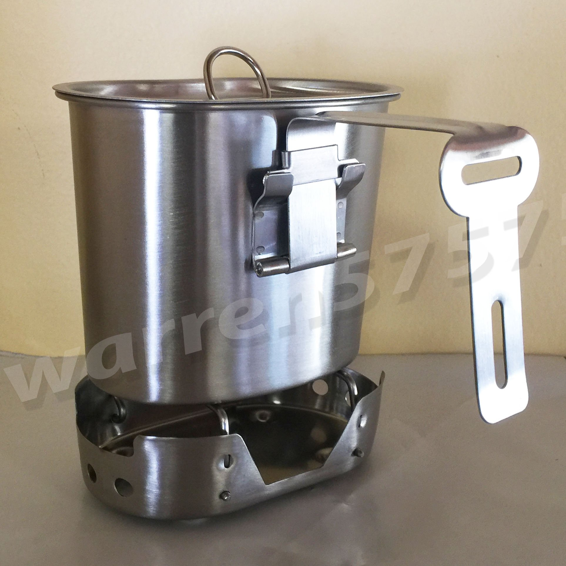 WWII STYLE Stainless Steel Canteen Cup with Foldable Handle and Vented LID Brand New Matte Finish. for 1qt. Style Canteens. With STAINLESS STEEL  CANTEEN CUP STOVE FOLDABLE.
