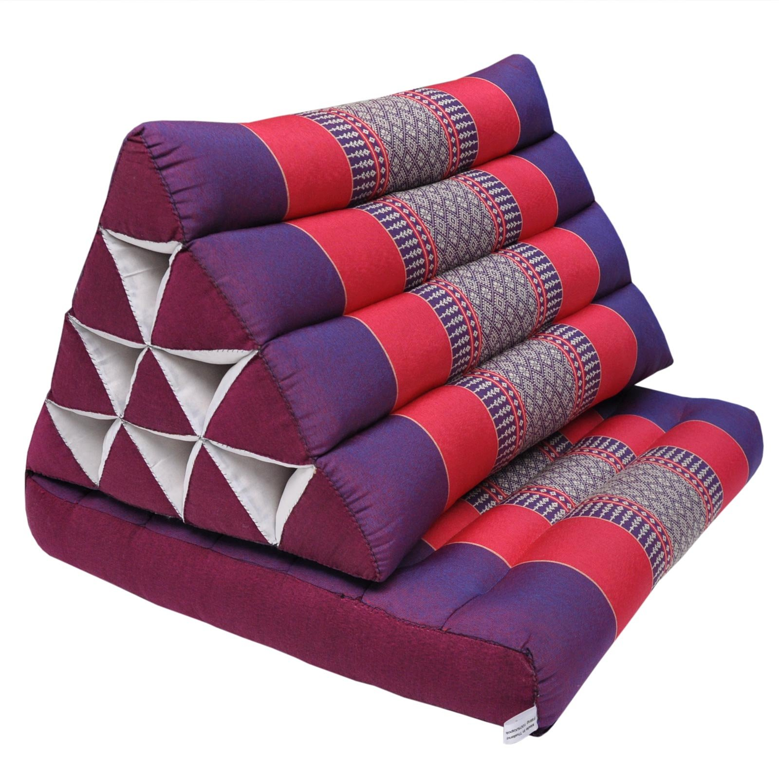 Thai triangle cushion with 1 folding seat, relaxation, beach, pool, meditation, yoga Violet/Red (81501) by Wilai GmbH