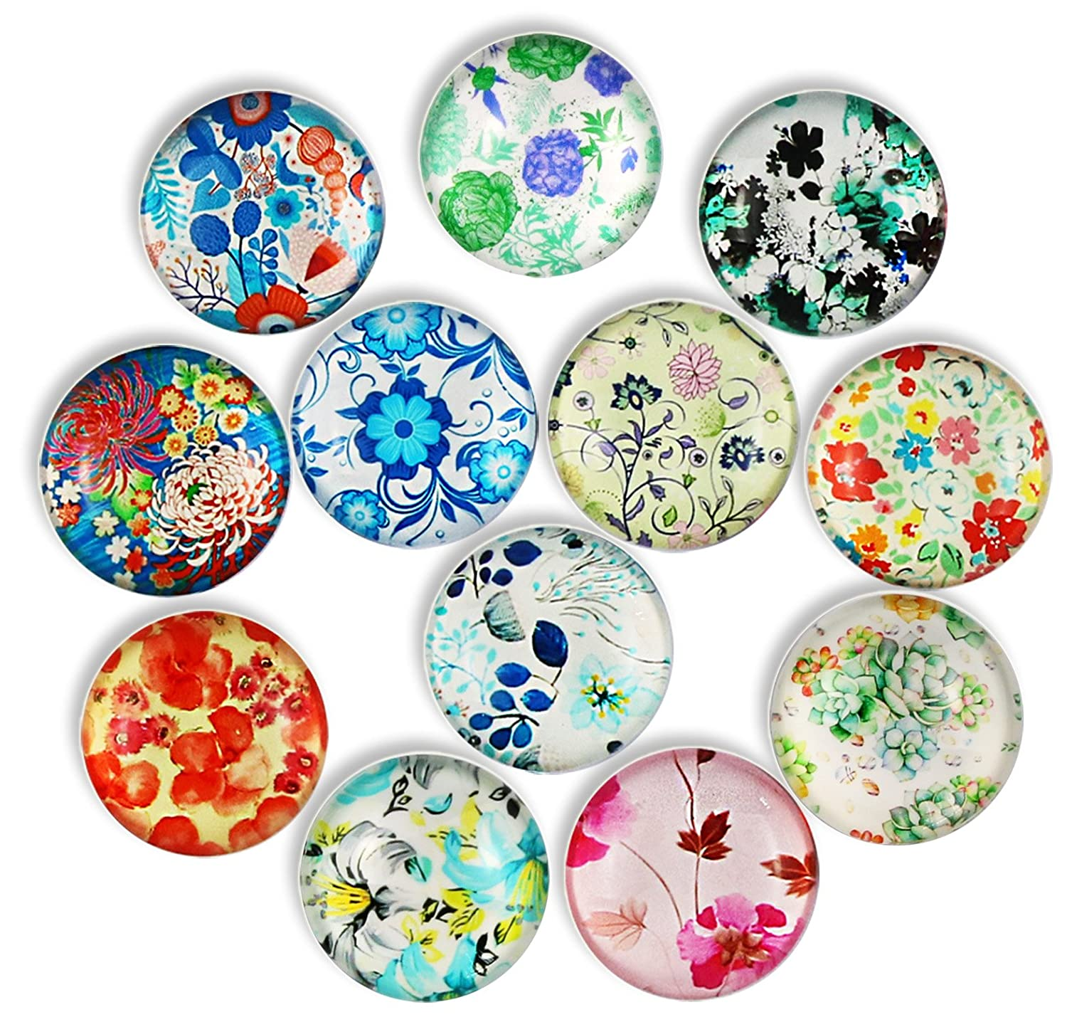 12pcs Flower Refrigerator Magnets, Cosylove Crystal Glass Fridge Magnets for Office Cabinets, Whiteboards, Photos, Beautiful Decorative Magnets for Holiday Gift, Decorate Home